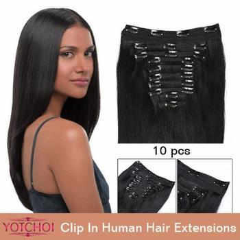 """Yotchoi клип в наборах 10 шт. клип в человеческих волос 14 """"-30"""" прямой естественный цвет 5А класс человеческих волос"""