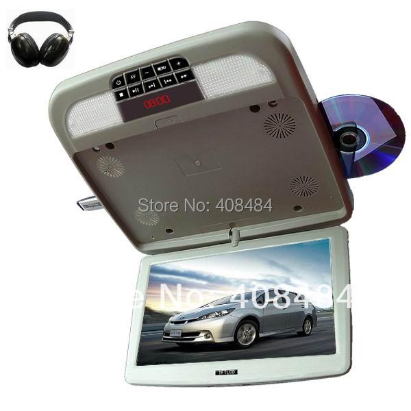 12 Inch Flip Down Roof Mount Car DVD Player Flip Down Monitor 1Pcs IR Wireless Earphone Game USB SD FM Free Shipping Retail/Set(China (Mainland))
