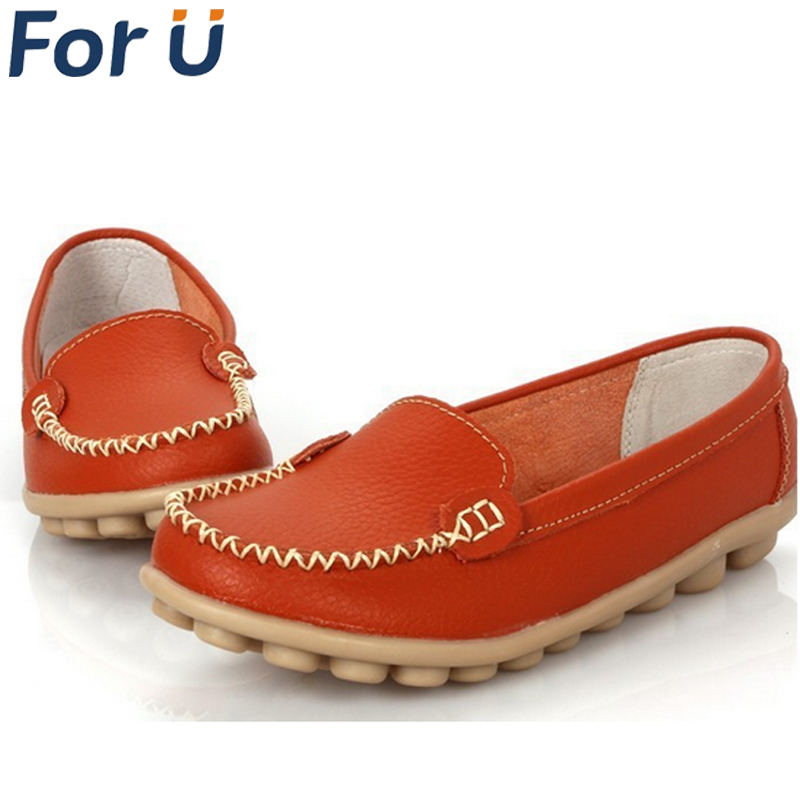 Shoes Woman 2015 Genuine Leather Women Shoes Flats 8 Colors Loafers Slip On Women's Flat Shoes Moccasins Plus Size(China (Mainland))