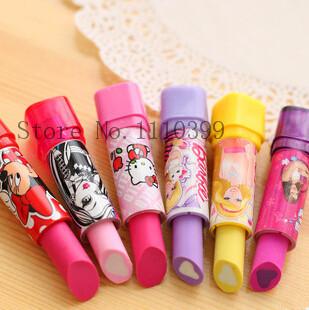 Eraser material escolar rubber Kid Child Gift lipstick erasers school supplies stationery 1 PC cartoon cute lipstick rubber<br><br>Aliexpress