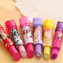 Eraser material escolar rubber Kid Child Gift lipstick erasers school supplies stationery 1 PC cartoon cute lipstick rubber(China (Mainland))