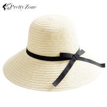 Fashion Straw Hats For Women Sun Hat Fashion Women's Summer Foldable Straw Hats Hot Selling Beach Headwear 2 Colors(China (Mainland))