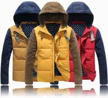 2015 New Korean Style Teen Thick Cotton Patchwork Coat Warm Winter Clothes Padded Jacket Men XXXL parkas largas hombre invierno