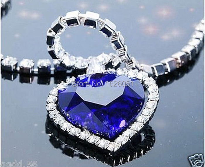 Neoglory Titanic Ocean Heart Necklaces Pendants For Women Crystal Rhinestone Jewelry Accessories Gift