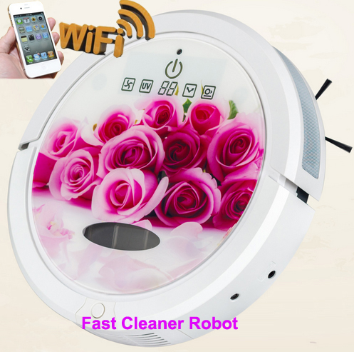 Smartphone WIFI App Wet And Dry Robot Cleaner Intelligent Robot Vacuum Cleaner With Water Tank,Self-Charging,Remote,Schedule,UV(China (Mainland))