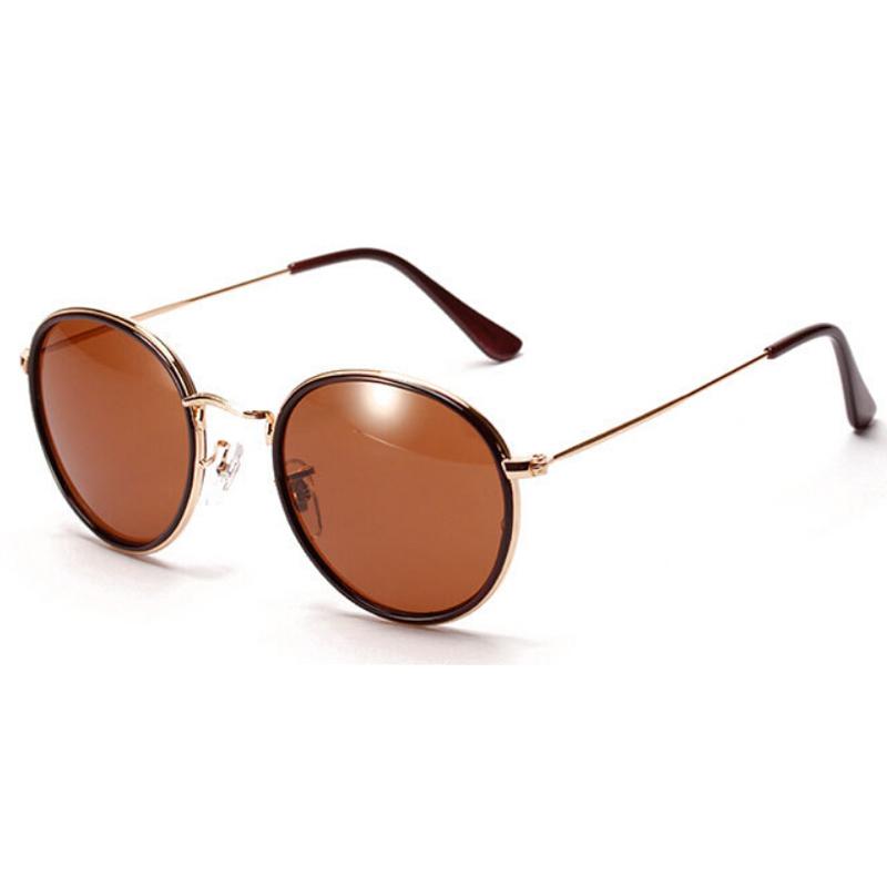 Mens Wire Frame Glasses : Brand Designer Round mirrored flash lenses sunglasses ...