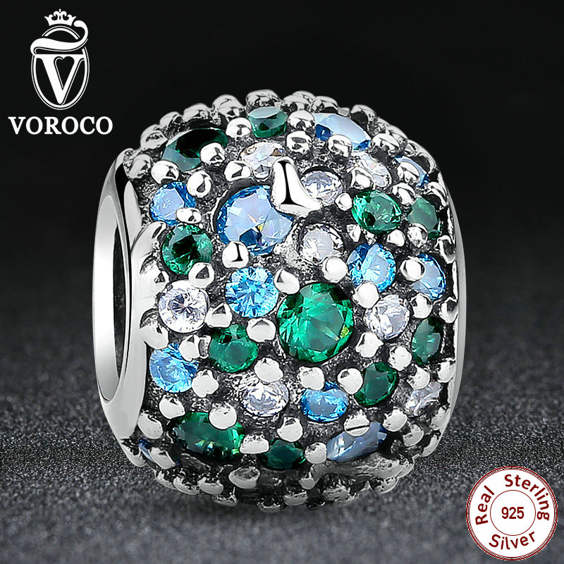 GIFT Charms Fit Pandora Original Bracelet Sterling 925 Silver Ocean Mosaic Pave, Mixed Green CZ & Green Crystal Beads S134(China (Mainland))