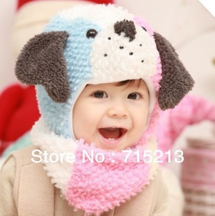 Free shipping 2014 Winter new cute cartoon puppy shape infant Infant Hat Scarf cool dog hat children Ear Hat Wool Cap + scarf(China (Mainland))