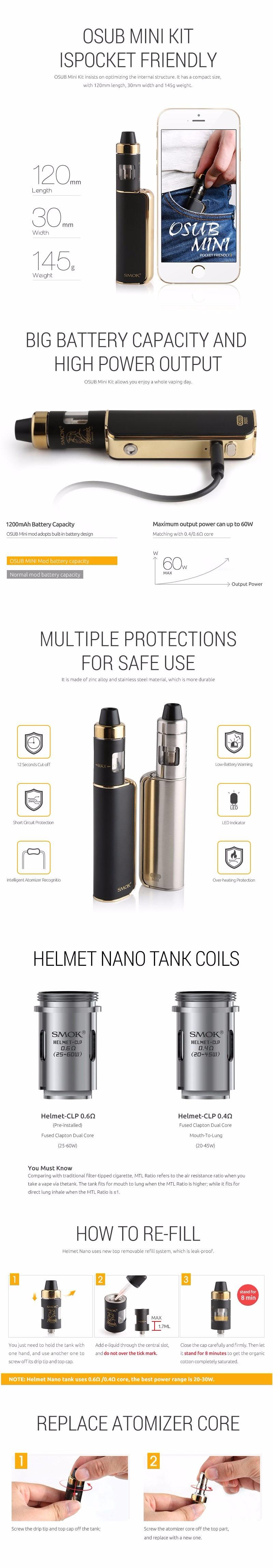 ถูก ของแท้100% SMOK OSUBมินิ60วัตต์ไอVaporizer Starterบุหรี่อิเล็กทรอนิกส์ชุดมอระกู่อิเล็กทรอนิกส์nargile E-บุหรี่