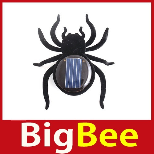 popular bigbee Educational Solar Powered Black Spider Toy Gadget Kids Hot Brand New(China (Mainland))