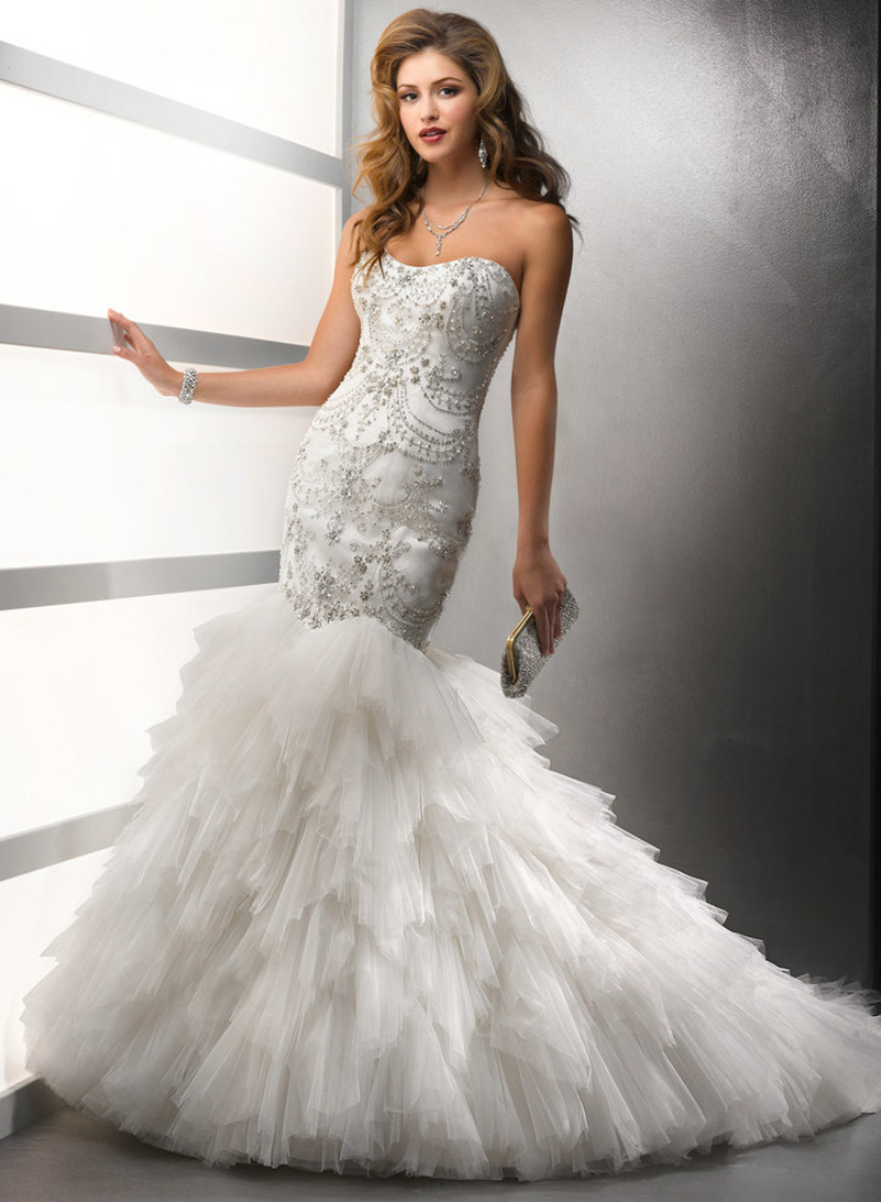 Silver or pink mermaid wedding dresses dress images for Silver and red wedding dresses
