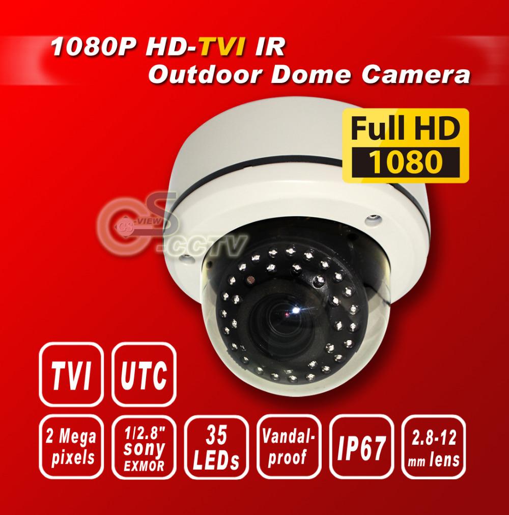free shipping TVI 1080P 1/2.8''Sony Exmor Sensor security camera 35IR 2M 2.8-12mm Lens Vandal-proof Outdoor dome camera white(China (Mainland))