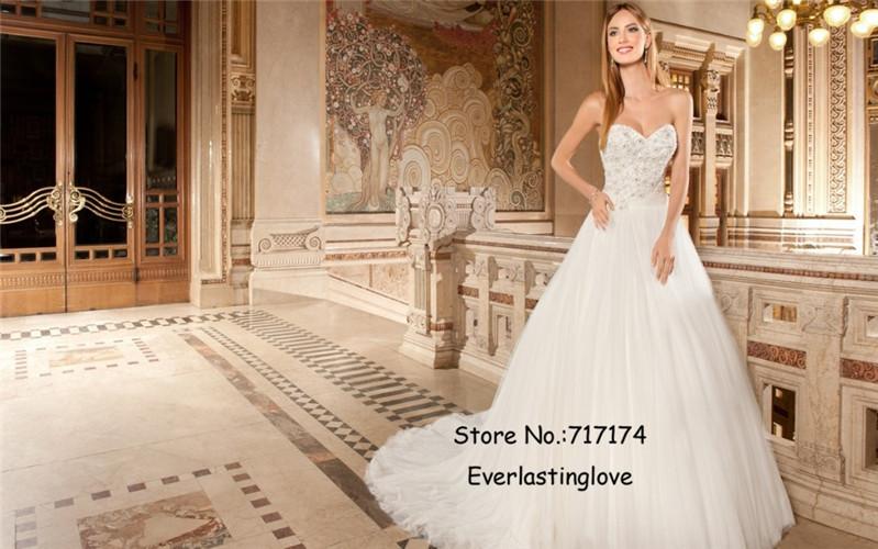 Милая бисероплетение Vestido де Noiva блестками кристаллы невесты аппликация топ платье-линии соте тюль свадебные платья