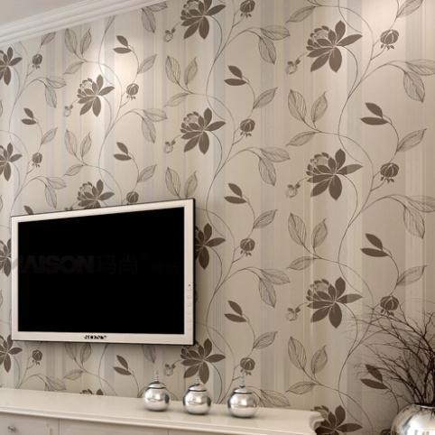Papel de parede no tejido de flores de papel de pared - Papel pintado aislante termico ...