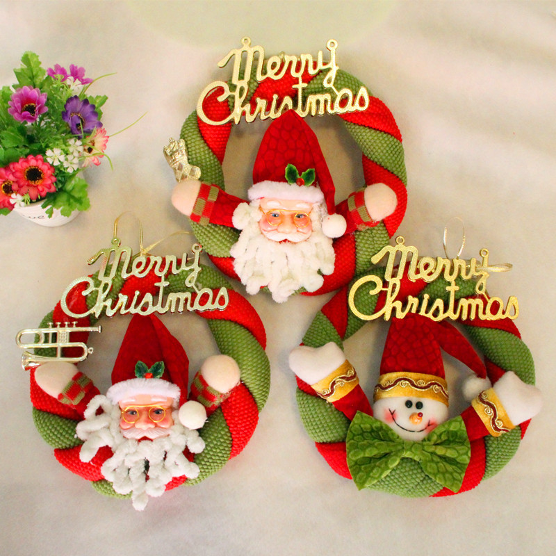 Merry Christmas Decoration Home Christmas Wreath Decoracion Navidad Hogar Cloth Christmas Santa Snowman Dornos Navidad 2016
