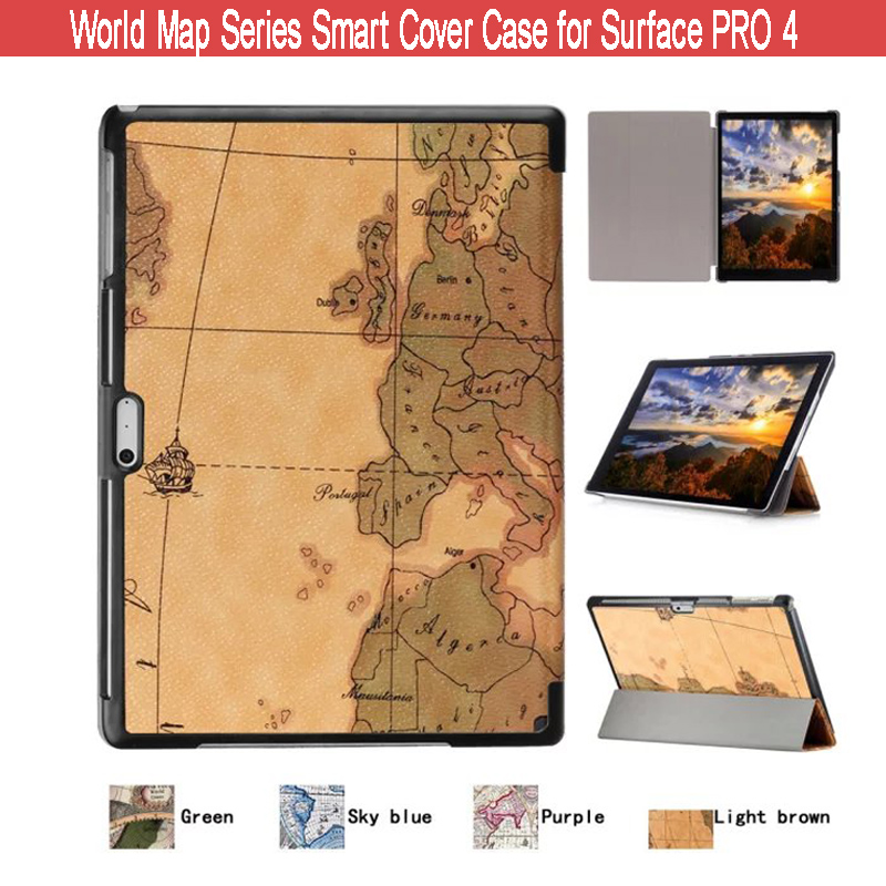 World Map Pattern Ultra Thin Lightweight Folio Cover PU Leather Smart Shell Stand Case for Microsoft Surface Pro 4 12.3 Tablet<br><br>Aliexpress