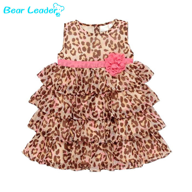Bear Leader Vestidos Fashion Summer 1pcs Baby Girl's Leopard Print Dress Cute Children's Dresses Children's Clothing 2015 New(China (Mainland))