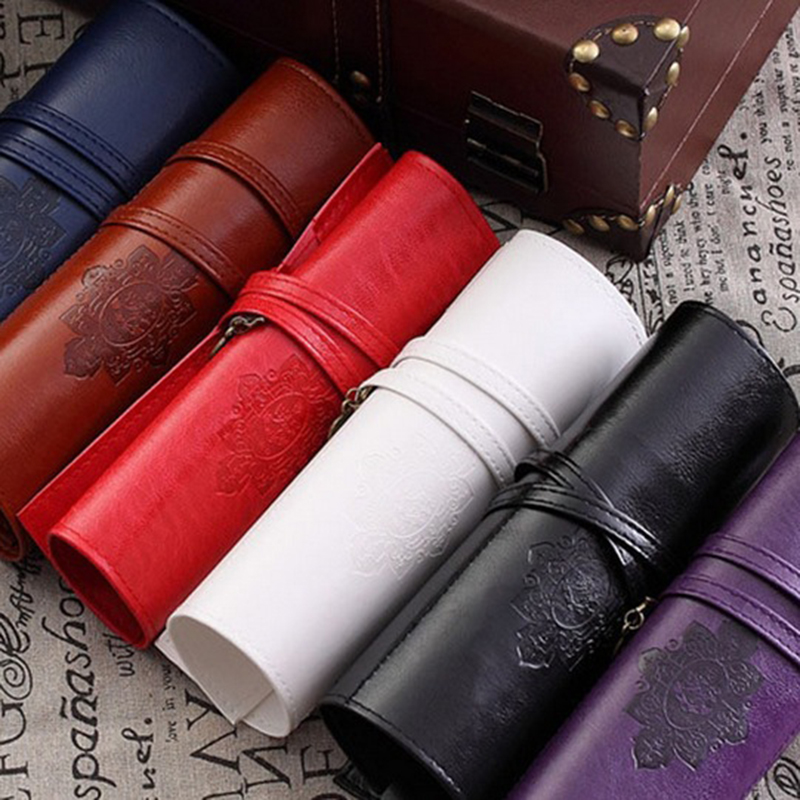 Hot Sale Creative Stationery Vintage Twilight Moon Pencil Case Cosmetic Bag PU Leather Pen Pouch Make Up Brush Bag Free Shipping(China (Mainland))