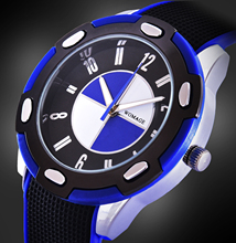 2016 New Womage Men silicone watch quartz racing hot sale fashion male big dial stylish sports watch casual round dial relogios