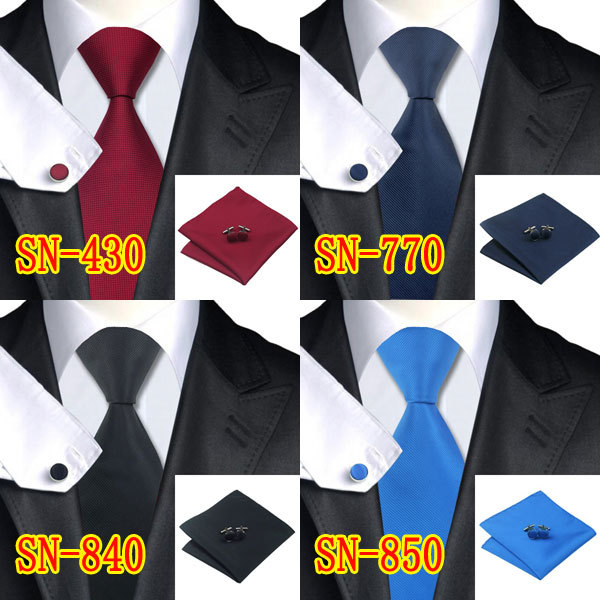 2016 New Arriving Classic Mens Tie Solid 100 Quality Jacquard Woven Tie Hanky Cufflinks Set for