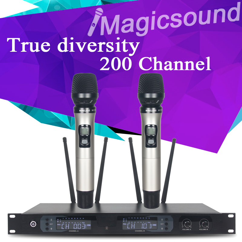 True diversity !! 4 Antenna !! 200 Channel for Stage !! Electroplate Dual Handheld Wholel Metal UHF Wireless Microphone System(China (Mainland))