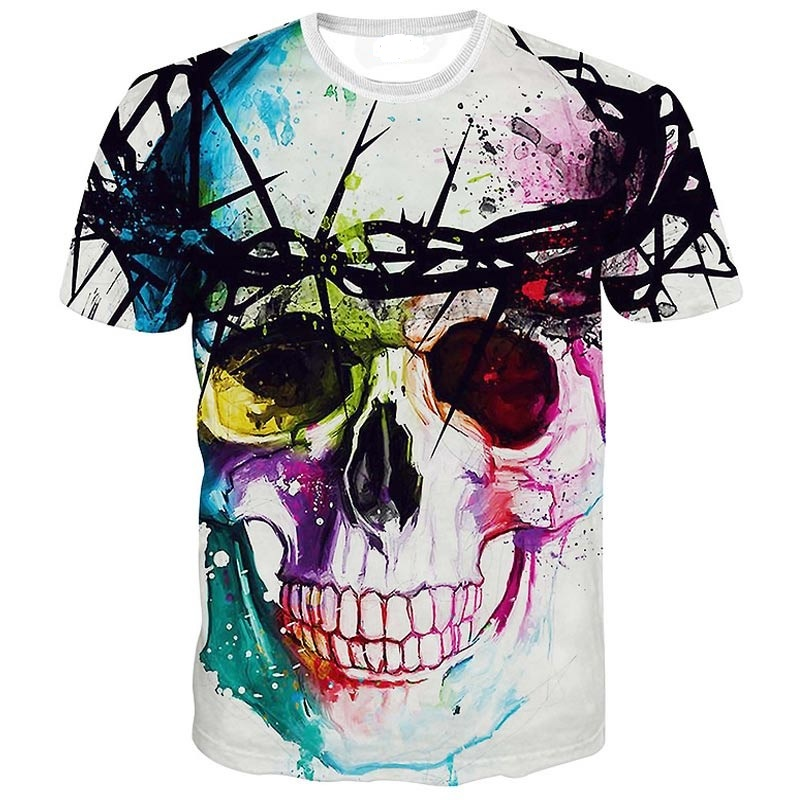 High quality 2016 Newest Fashion Harajuku Men/Women T-shirt 3d Print The skull ip Hop Brand T Shirt Summer Tops Tees(China (Mainland))