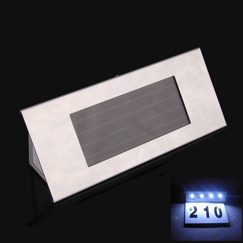 House Address Number Solar Power Stainless Steel LED Doorplate Light Lamp Seller Recommend Strongly(China (Mainland))