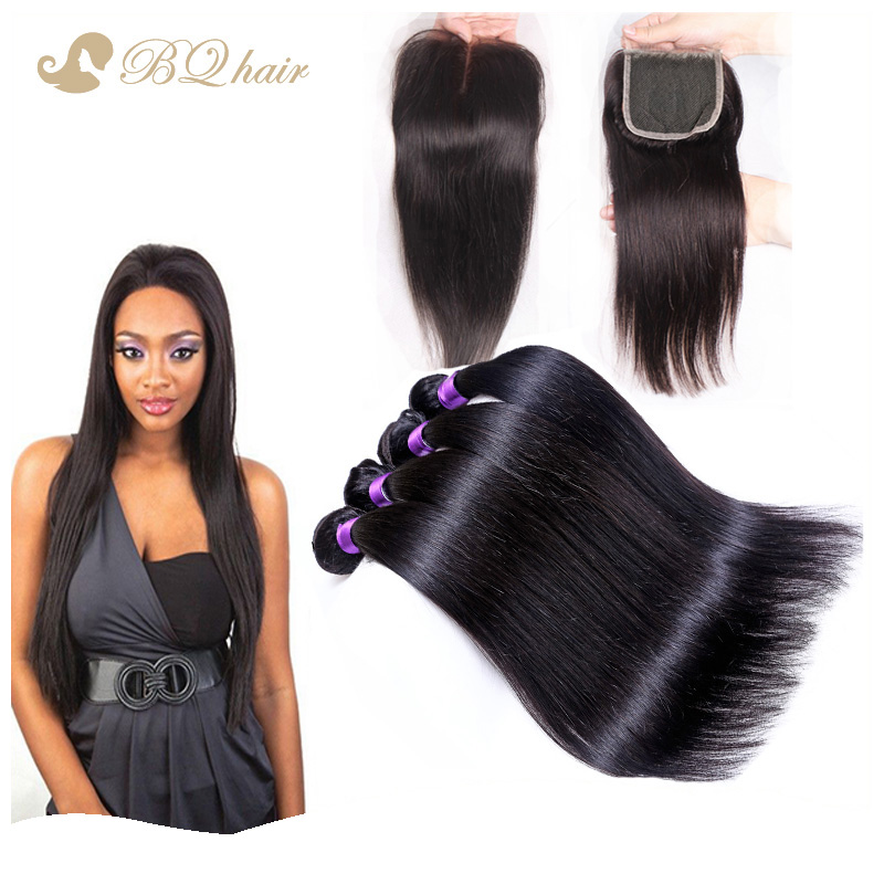 4 Bundles 7A Peruvian straight with closure cheap peruvian hair extension unprocessed brazilian virgin hair weaves straight<br><br>Aliexpress