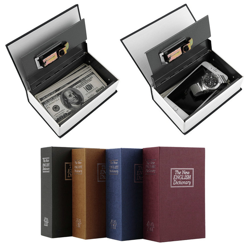 Гаджет  Deluxe Black Secret Dictionary Book Safe Money Hidden Box Security Lock Key Lock Strongbox Hot New Free Shipping None Безопасность и защита