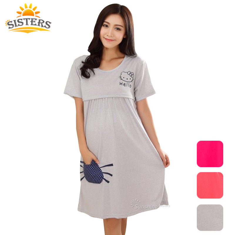 Cotton Maternity Sleepwear Pregnant Women Pajamas Nursing Breast Wear Lactation Clothing For Feeding Nursing Clothes Nightgown(China (Mainland))