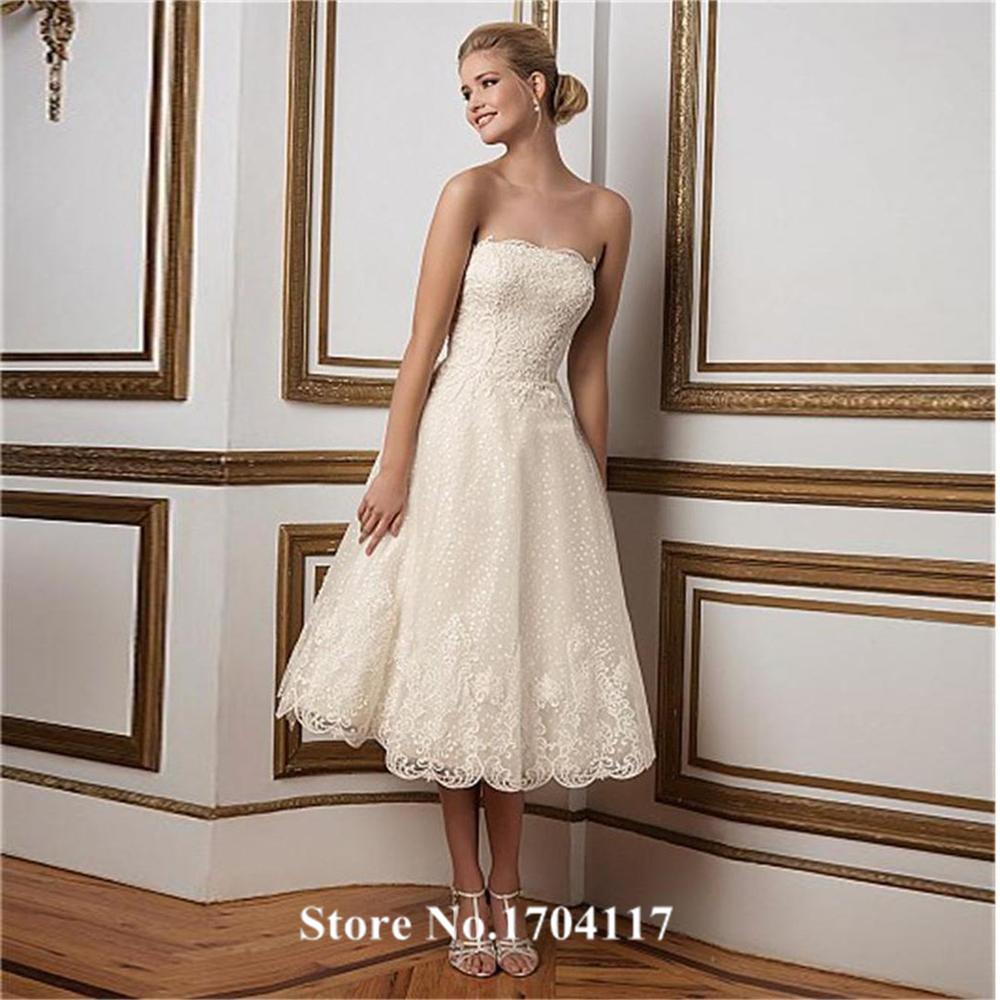 Elegant strapless tea length lace wedding dress custom for Elegant tea length wedding dresses