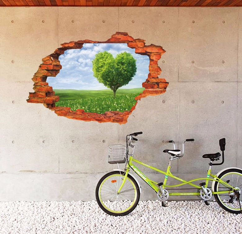 3D Broken Wall heart-shaped tree Scenery Household Adornment waterproof fashion Can Remove The Wall Stickers vinyl PVC