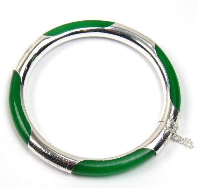 free P&P >>>>>Genuine Dark Green Jade Silver Hinged Bangle Bracelet(China (Mainland))