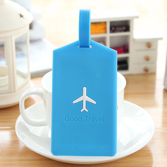 5018A free shipping 2014 new rectangle shape popular candy color small aircraft silicone luggage tag(China (Mainland))