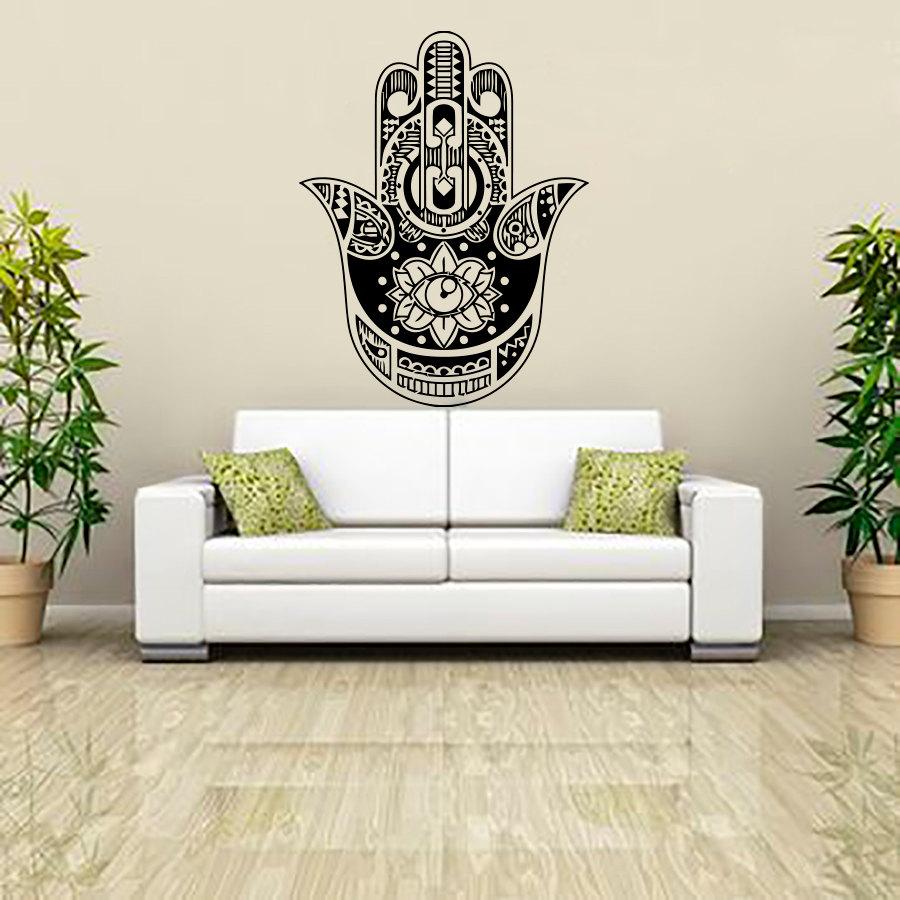 Indian Buddha Lotus Hamsa Hand Wall Sticker Home Decor Vinyl Art Murals Living Room Sofa