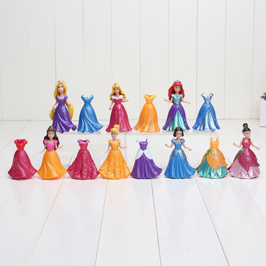 14pcs/set Princess Snow White Cinderella Mermaid Anime PVC Figure Set With Magic Clip Dress Baby Toy Toys For Girls 8~9cm(China (Mainland))