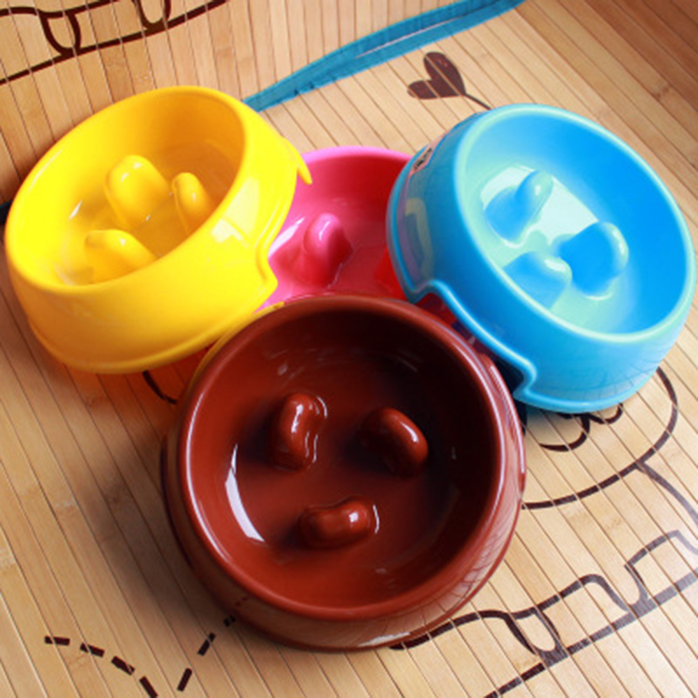 Small Dog Food Bowls Anti Choke Pet Dog Cat Food Water Bowl Puppy Slow Food Down Bowl Eating Feeder Dish Prevent Eat Much PT0050(China (Mainland))