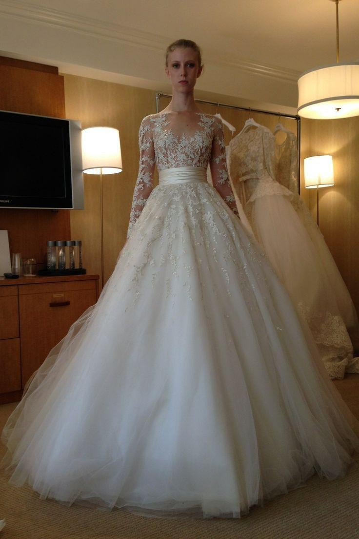 Spring long sleeves applique with crystals wedding dresses for Sheer bodice wedding dress