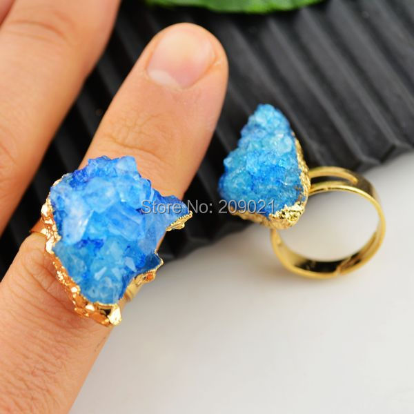 Finding Druzy Rings - Blue Color Crystal Geode Drusy Ring Jewelry making 8pcs/lot<br><br>Aliexpress