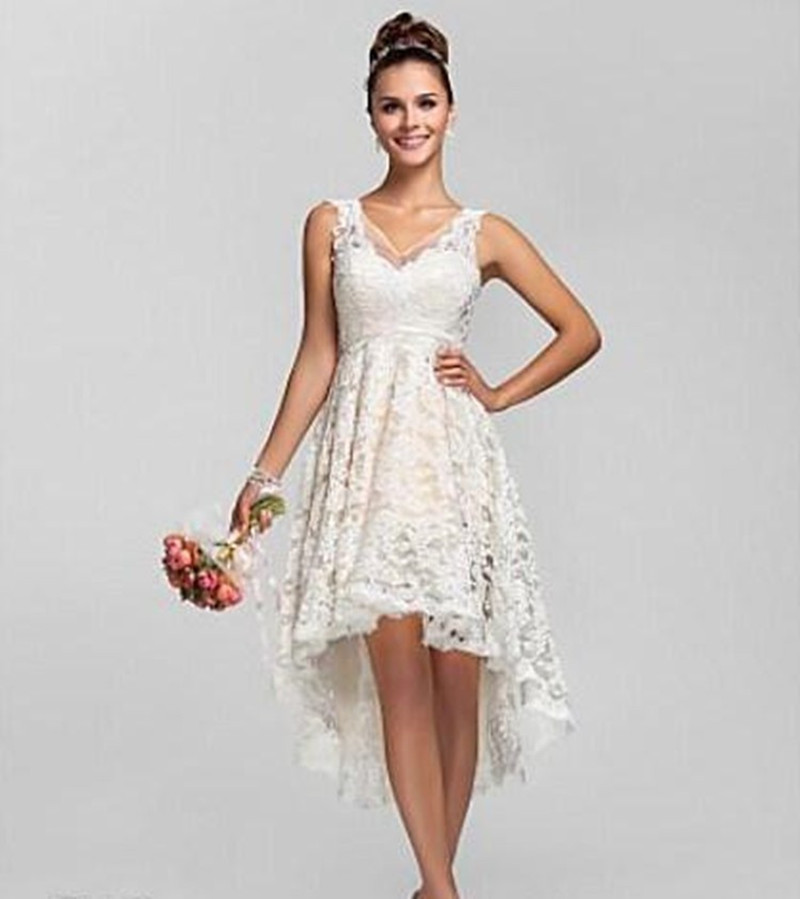 Vintage spaghetti short bride dresses hi lo tea length for Good wedding dresses for short brides