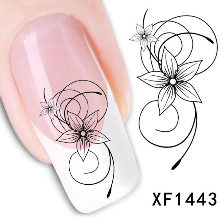 XF1443 Flower Design Fashion Beauty Nail Art Water Transfer Nail Sticker nail tools nail art decorations(China (Mainland))