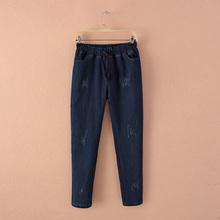 Large size of domestic custom code cat claw straight stretch denim pants 2016 new elastic waist stretch denim trousers