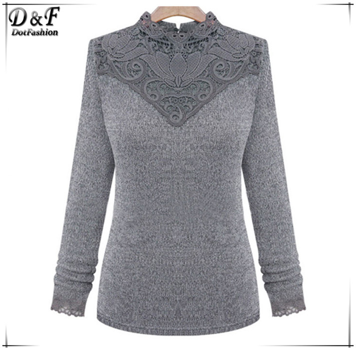 Latest Winter Women Turtleneck Jumpers Fashion Desigual Brand Casual Grey Long Sleeve Contrast Lace Sweater(China (Mainland))