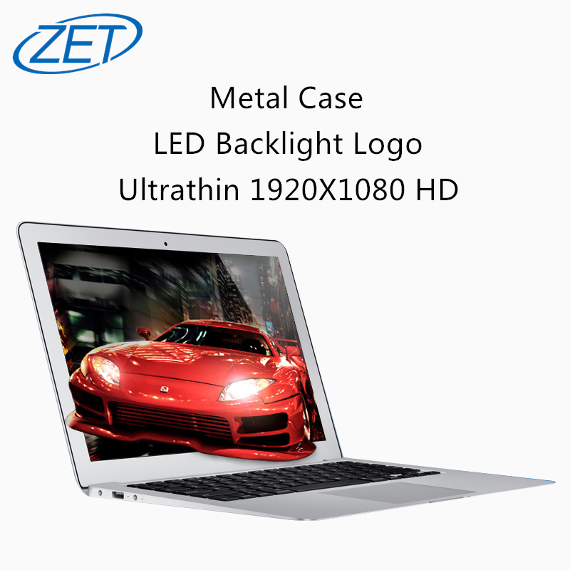 ZET Windows 10 ultrathin 1920X1080 HD Quad Core Fast Running Netbook laptop computer with Backlight Logo and metal case notebook(China (Mainland))