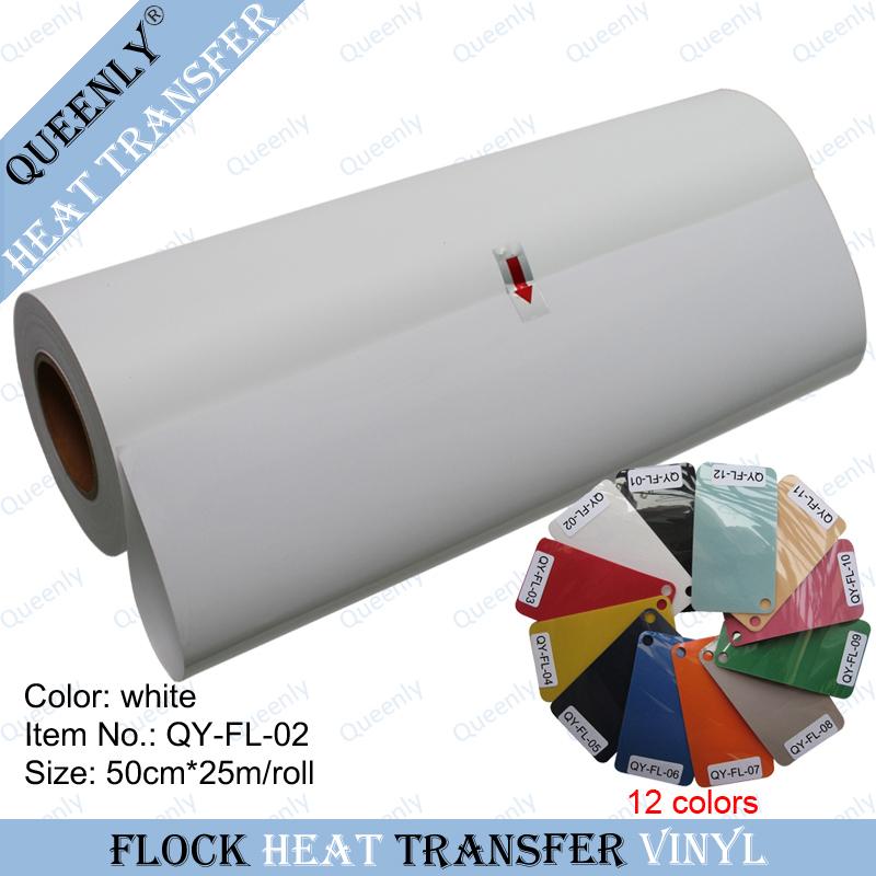 White flock heat transfer vinyl flock heat transfer paper 50cm*25m/roll(China (Mainland))