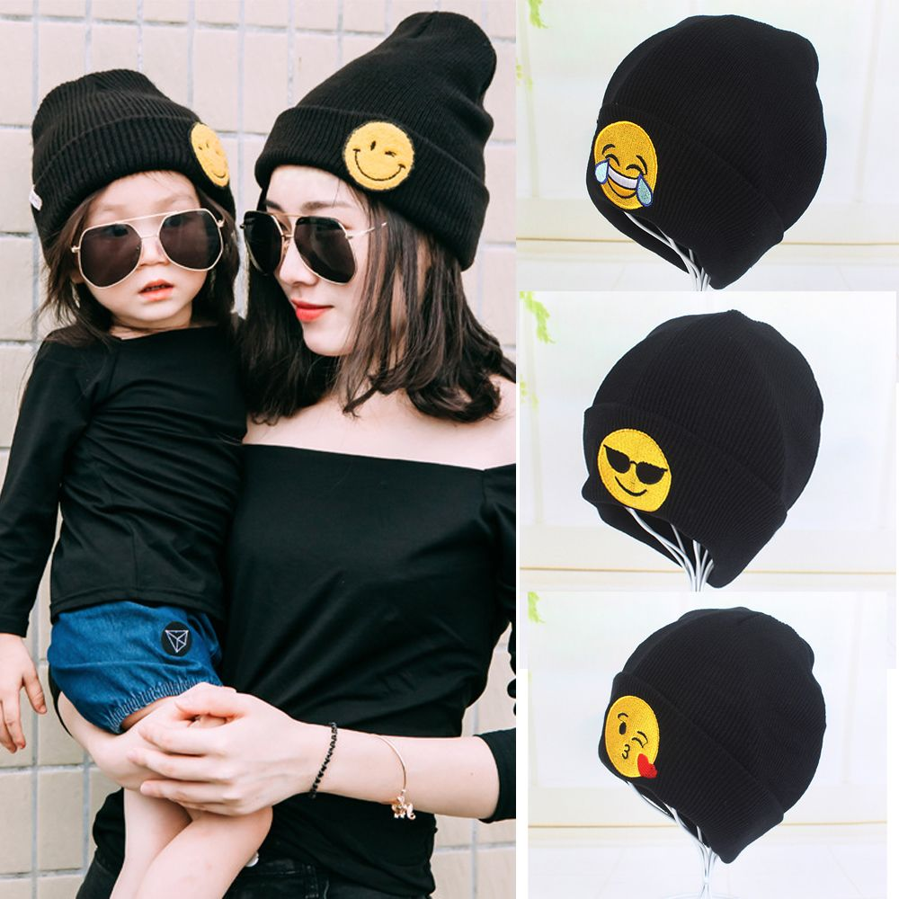 1PC Lovely Fashion Baby Girls Boys Winter Warm Beanie Hat Crochet Cute Emoji Earflap Soft Organic Knitted Warm Party Caps 2016(China (Mainland))