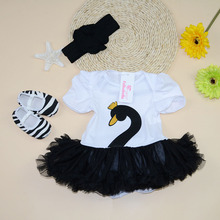 Sport Suit New Baby Dress Toddler Girls Swan Print Newborn Baby Clothes Summer Cotton Clothing Set