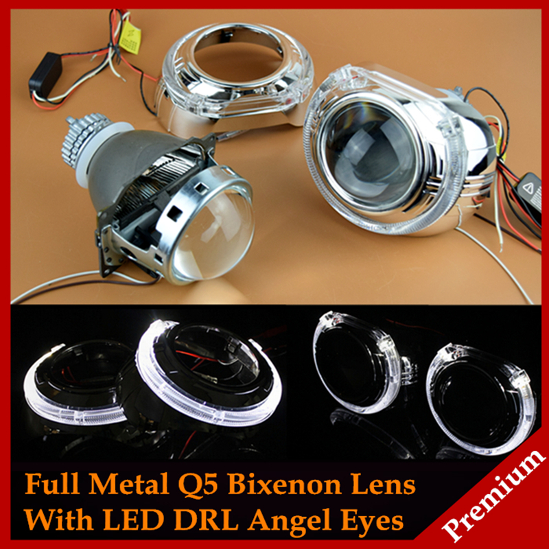 Car Styling Automobiles Full Metal Q5 Koito H4 3.0 HID Bixenon Projector Lens Headlight With White LED Angel Eyes DRL LHD RHD(China (Mainland))
