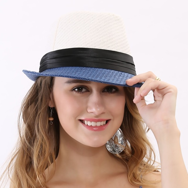 2015 Brand Mens New Summer Style Sun Beach White Black Bowknot Ribbon Wide Brim Foldable Women