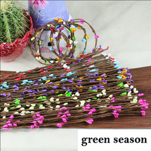 40cm Beads Bud Branch Iron wire  Artificial Flower Wedding Decoration DIY Handmake Wreath Scrapbooking Craft Fake Flower 10pcs(China (Mainland))